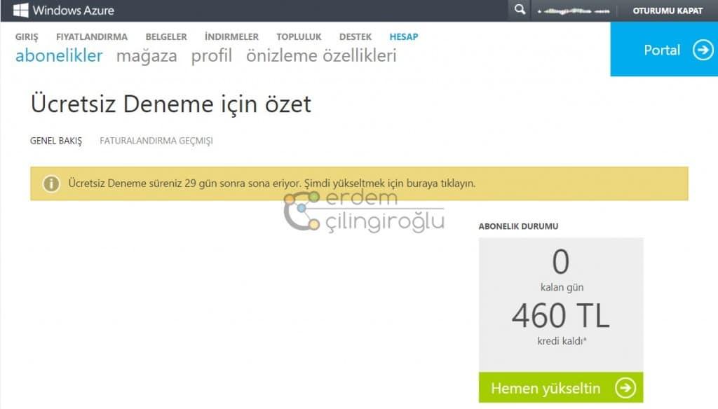 Azure Abonelik Ekranı 2