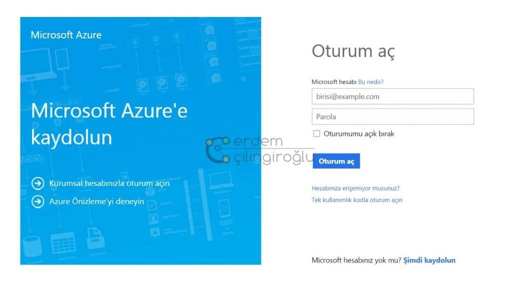 Azure login ekranı